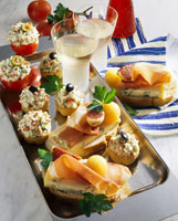 Assorted appetisers and open sandwiches
