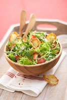 Salad leaves with strawberries