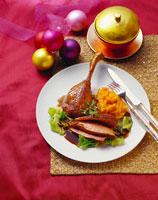 Roast goose with pumpkin puree