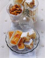 Stollen squares, ginger fruit slices