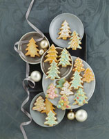 Decorated fir tree biscuits