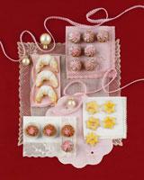 Cream crescents, raspberry rosettes etc