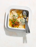 Clear broth with pasta parcels