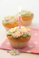 Birthday candle on muffin