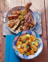 Chicken with potatoes and kid