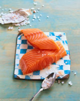 Norwegian salmon fillet with sea salt