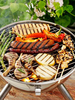 Grilled food on a table grill