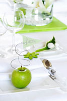 Green apple and place card