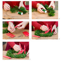 Making a Christmas wreath of yew