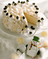 Snow cake with snowman decorations