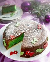 Green pineapple cake for Christmas 22199037207  写真素材・ストックフォト・画像・イラスト素材 アマナイメージズ