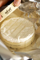 Camembert in wooden box