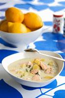 Potato and salmon soup 22199038273| 写真素材・ストックフォト・画像・イラスト素材|アマナイメージズ