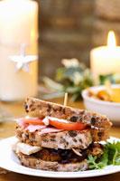 Making a Christmas club sandwich