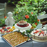 Summer cake buffet in garden