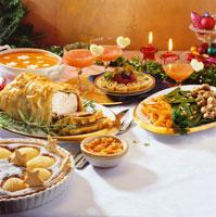 Christmas buffet with turkey en croute