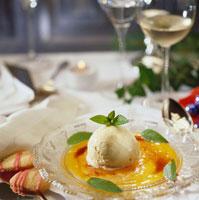 Vanilla ice cream with mango puree