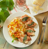 Pepper risotto with turkey steaks