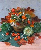 Autumn arrangement of artichokes