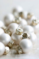 Small, white Christmas baubles
