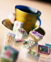 Decorated Sugar Cubes with a Cup
