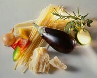 Spaghetti vegetables herbs and Parmesan