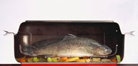 Trout with vegetables stewing