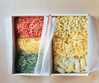 Various types of pasta in a box
