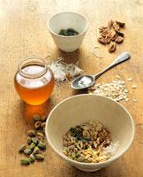 Various nuts, pistachios honey