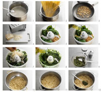 Making linguine al pesto