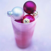Christmas baubles in a glass