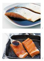 Preparing teriyaki salmon