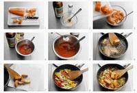 Preparing fish in tomato sauce