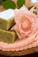 Herb and lavender soap and pink rose