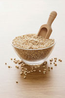 Grains of barley in glass bowl