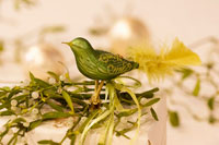 Green glass bird on a parcel decorated