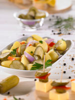 Potato salad with gherkins and peppers