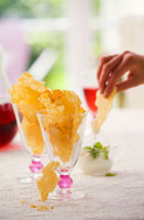 Parmesan crisps in glasses