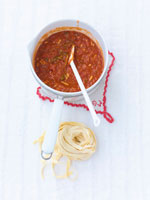 Tomato sugo in a small pan