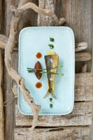 Fried mackerel fillet on polenta