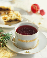 Borscht in Christmassy soup cup