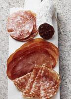 Various types of Italian salami,bresaola and sopressa