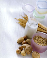 Still life with grain,nuts and yoghurt