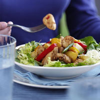 Salad leaves with chicken breast,pineapple,peppers & beans