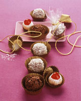Chocolates,marzipan fig balls and coconut rum balls