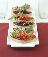 Crostini (Toasted bread with various toppings,Italy)
