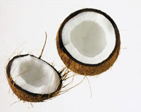 A coconut,cut open