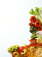 Still life with fruit�Cvegetables�Cfish�Crice & pasta