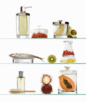 Shelves with Ingredients Used in Beauty Products