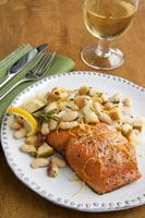 Salmon with Lemony White Beans